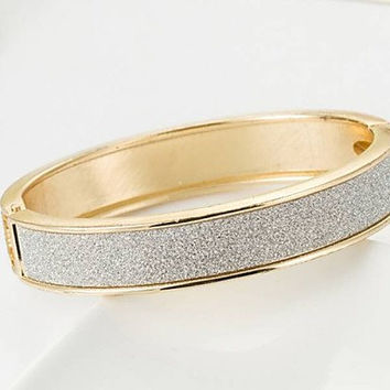 Gold and CZ Hinged Bangle Bracelet