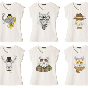 Women Animal Retro Style Printed Cotton Short Sleeves T- Shirt WTS_02