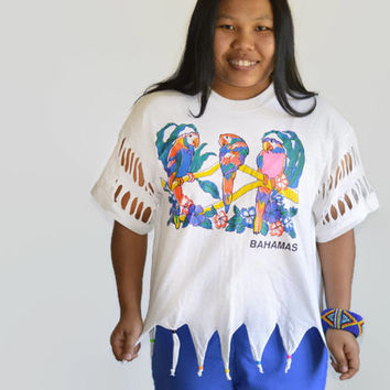 90's Vintage Bahamas T Shirt Handmade Cut Out Designs Beads Parrots
