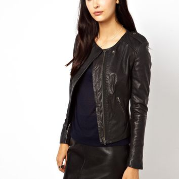 MuuBaa Zaire Lambs Leather Collerless Jacket with Epaulettes