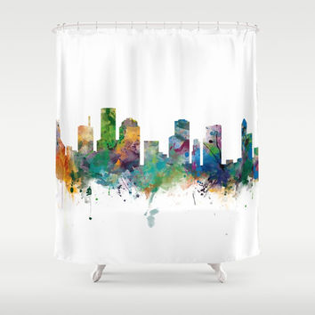 Houston Skyline Shower Curtain by monnprint