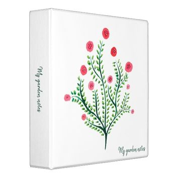 Abstract Spring Plant Ink Drawing Garden Notes 3 Ring Binder