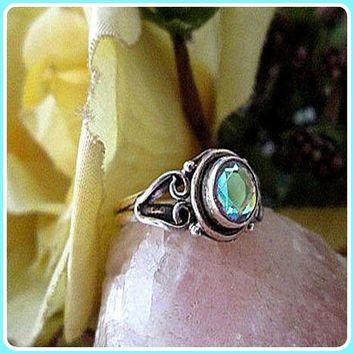 """""""Peace & Serenity"""" Aquamarine Sterling Silver Ring"""
