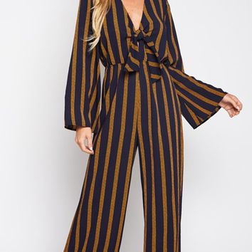 Fire Away Vertical Stripe Pattern Long Sleeve V Neck Tie Front Loose Wide Leg Jumpsuit - 2 Colors Available