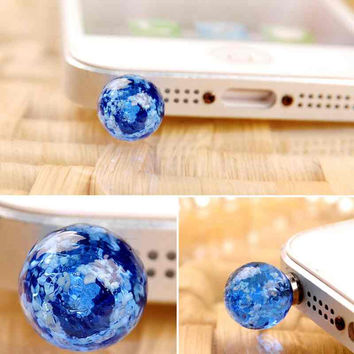 Crystal Luminous 3.5mm Anti Dust Plug Headphone Jack Cap For Cell Phone iphone