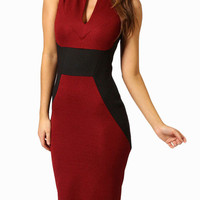 Sleeveless Cut-Out Bodycon Midi Dress