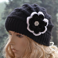 Knitted cap in flower cap / hat lovely warm autumn accessories women clothing Knit Hat Womens lovely black