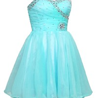 Faironly Aqua Mini Short Homecoming Prom Dress F2977 (XS)