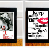 2 black and red watercolor marilyn monroe & hot pink quote art deco print living ROOM WALL DECOR