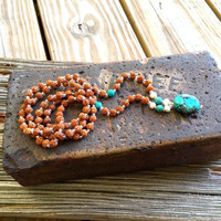 Bohemian Necklace, Hippie Jewelry, Turquoise Mala Necklace, Rudraksha Necklace, Boho Jewelry, Yoga Necklace