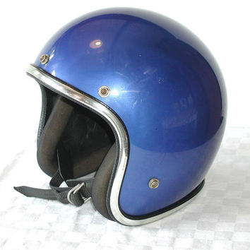 Vintage Blue Motorcycle Helmet  Medium