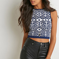Geo-Patterned Crop Top