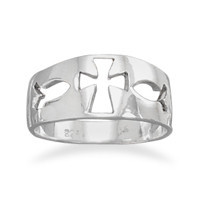 Cut Out Cross Ichthys Ring
