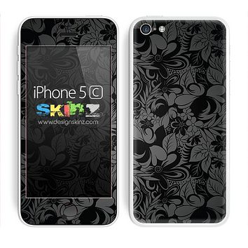 Black Floral Subtle Design Skin For The iPhone 5c