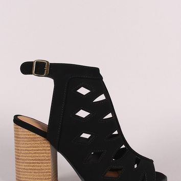Qupid Nubuck Peep Toe Geo Cutout Chunky Heeled Booties