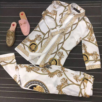 """""""Versace"""" Fashion Retro Totem Print Middle Sleeve Shirt Casual Set Two-Piece"""