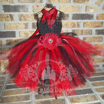 Red and Black Tutu Dress with Zebra Accents