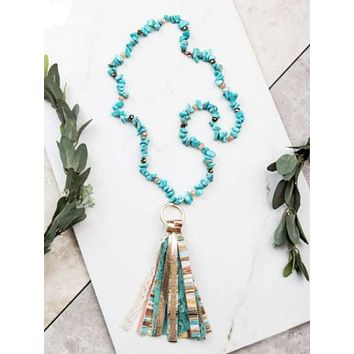 Western Expression Turquoise Tassel Necklace