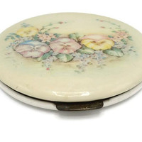 1930's Rex Fifth Avenue Floral Celluloid Flapjack Powder Compact