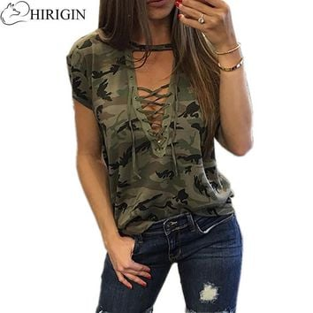 HIRIGIN 2017 Women Ladies Short Sleeve Camouflage Loose Blouse Summer Lace Up Casual Blouses Shirts Tops Army Green Color