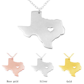 I Heart Texas Necklace United State Map Jewelry Texas State Charm