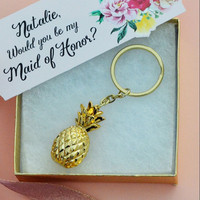 Pineapple Keychain Maid of Honor Bridesmaid Gift - Personalized Tag