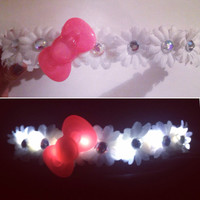 Hello kitty inspired LED Flower crown for music festivals EDC