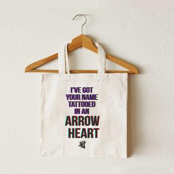 I've Got Your Name Tattooed In An Arrow Heart - She Looks So Perfect tote bag - 5SOS bag - 5 Seconds of Summer - Canvas tote bag - TOT-012