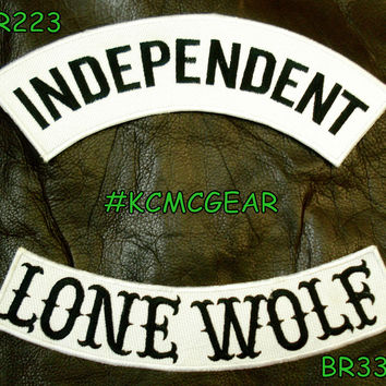 INDEPENDENT LONE WOLF Rocker Patches Set for Biker Vest