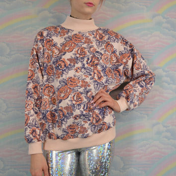 Pastel Grunge Floral Shirt Pink Soft Grunge Preppy Hipster Rose Sweatshirt Gold Glitter Metallic 90s Vintage Size Small Medium