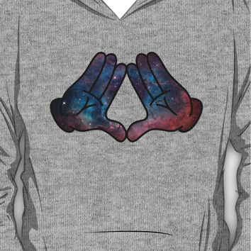 Mickey Mouse Diamond Hands Blue Space Hoodie (Pullover)