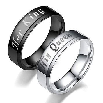 6MM Her King His Queen Couple Wedding Ring Titanium Steel Lovers Engagement Band Ring Silver Queen Ring Black King Ring