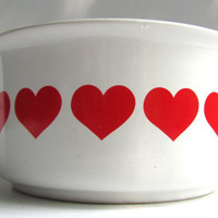 Danish Mod Style Heart Bowl FTDA 1986 In Bright Red and White