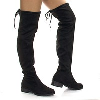 JalenH4 Stretch Pull On Over Knee Thigh High w Back Lace & Block Stacked Heel