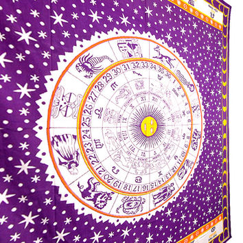 Large Astrology Tapestry,Tapestry , Hippie Tapestries, Indian Zodiac Bedspread Bed Cover, Throw Boho Wall Hanging Twin Hippie Coverlet