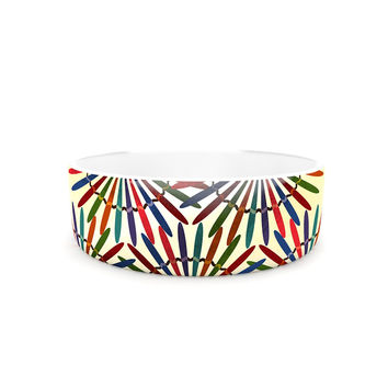 "Famenxt ""Colorful Abstract Pattern"" Yellow Multicolor Pet Bowl"