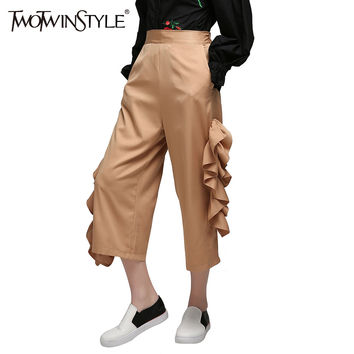 [TWOTWINSTYLE] 2017 Summer Side Ruffles Trousers for Women's Wide Lge Pants Clothes New Big Size Clothes Fashion