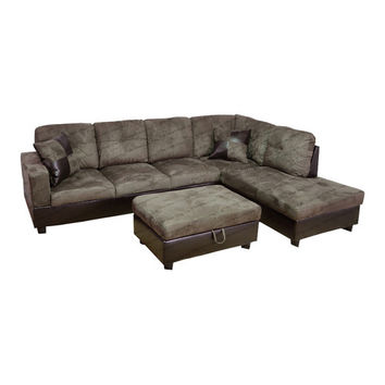 Beverly Fine Furniture Della Right Chaise Sectional with Storage Ottoman
