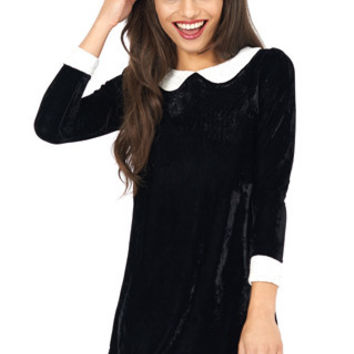 Wednesday Black Velvet Peter Pan Collar Dress | Oh My Love