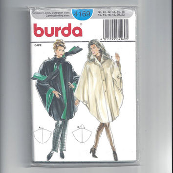 Burda 4169 Pattern for Hooded Cape, FACTORY FOLDED & UNCUT, Sizes 12 to 22 or 38 to 48, 1990s Pattern, Home Sewing Pattern, German Pattern