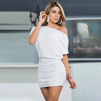 Plus-Size Sexy One Shoulder Half Sleeved Mini Bodycon Dress