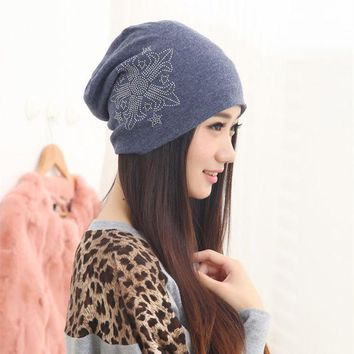 VONESC6 New Fashionable Autumn Elegant Beanie Women Hat Cool Dance Cotton Blend Cap Free Shipping