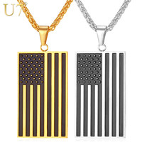 U7 Hot American Flag Pendant Stainless Steel Men Chain Necklace Gold Plated Trendy USA Symbol Necklace Men Jewelry 2016 P721