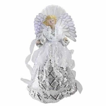 "16"" Lighted B/O Fiber Optic Angel in White and Silver Sequined Gown Christmas Tree Topper"