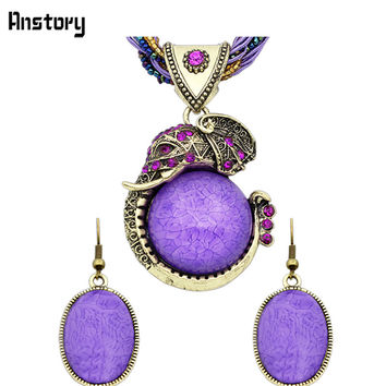 Fashion Jewelry Antique Bronze Plated Cute Personality Elephant Pendant Necklace Earrings Jewelry Sets TS244