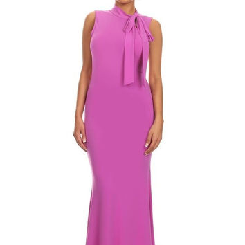 Sexy Diva Mermaid Maxi Dress-Keyhole High Tie Neck - Orchid