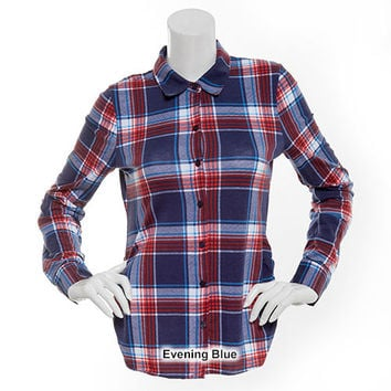 Juniors Derek Heart Side Ruched Plaid Shirt