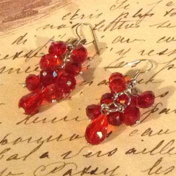 "Handmade Clear Red Faceted Crystal Rondelle and Teardrop 2"" Long Earrings"
