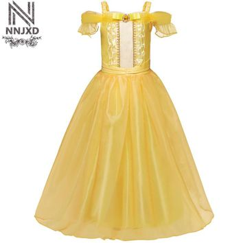 Teenage Princess Girl Elsa Dress Girls Party Wear Beauty And The Beast  Prom Gown Children Kid Halloween Costume Girl Clothes