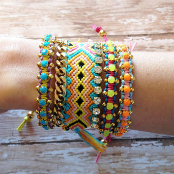 End of Summer Sale OOAK Beaded Bangle with Neon Yellow Rhinestones | Friendship Bracelet | Festival, Boho, Gypsy Style